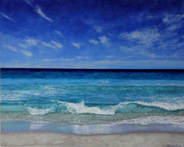 Rebecca Morgan Finch beach perth western australia blue artist