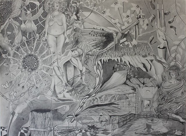 Gaia graphite on paper perth artist drawing contemporary drawing nature illustration