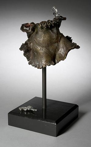 Bronze Sculpture, Guns, Feminist Evocative Figureless Garment by LindaMaeTratechaud