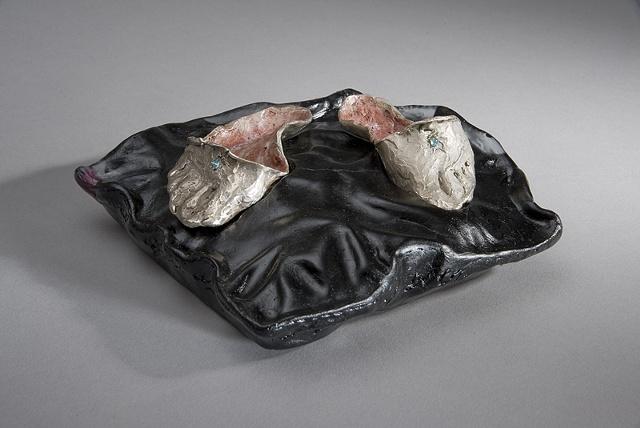 EvocativeFigurelessGarment by LindaMaeTratechaud, Sculpture, Cast Silver, Cast Glass, slippers