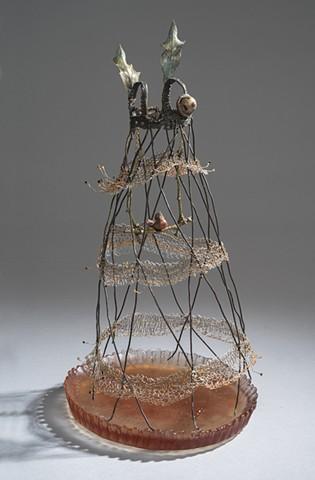 EvocativeFigurelessGarment by LindaMaeTratechaud, Bronze, Sculpture, Bird, Birdcage