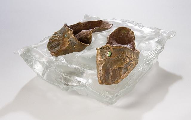 EvocativeFigurelessGarment by LindaMaeTratechaud, Sculpture, Bronze, Cast glass, slippers