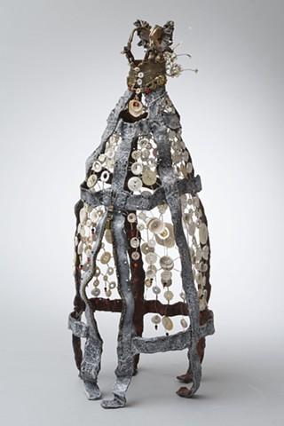 EvocativeFigurelessGarment by LindaMaeTratechaud, Bronze, Sculpture, Buttons, Shells, Woven Wire, Moroccan Wedding Blanket
