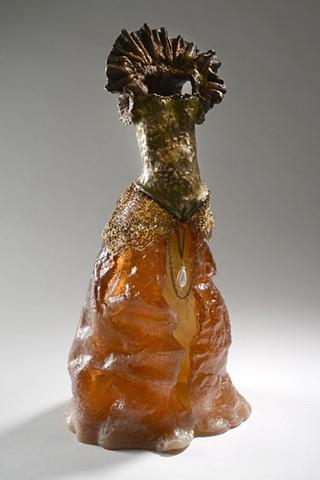 EvocativeFigurelessGarment by LindaMaeTratechaud, Sculpture, Bronze, Cast Glass, Woven Wire, Pearl