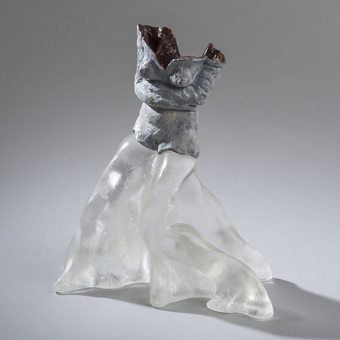 EvocativeFigurelessGarment by LindaMaeTratechaud, Sculpture, Bronze, Cast Glass, Straight Jacket, Bell Bottoms