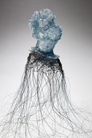 EvocativeFigurelessGarment by LindaMaeTratechaud, Cast Glass, Woven Wire, Wall Flower