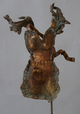 EvocativeFigurelessGarment by LindaMaeTratechaud, Bronze Sculpture, Apron, Wings