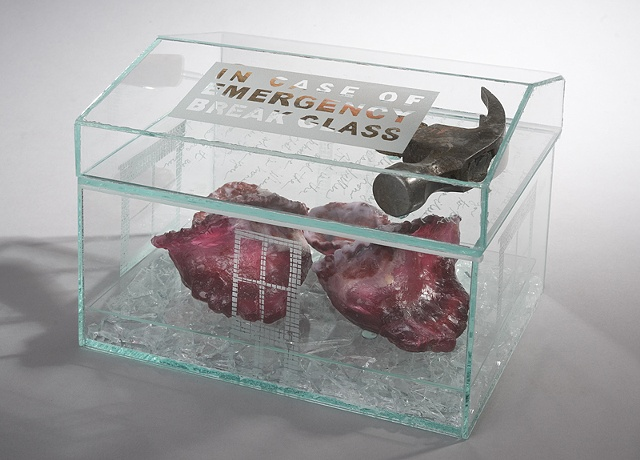 EvocativeFigurelessGarment by LindaMaeTratechaud, Sculpture, Cast Glass, hammer, broken homes