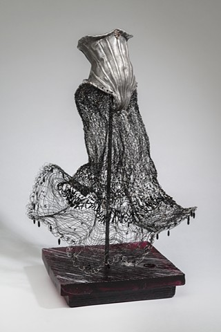 EvocativeFigurelessGarment by LindaMaeTratechaud, Aluminum, Sculpture, Woven Wire, Dancer