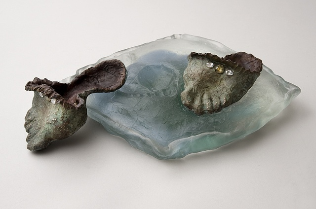 EvocativeFigurelessGarment by LindaMaeTratechaud, Sculpture, Bronze, Cast Glass, Slippers, Pillow