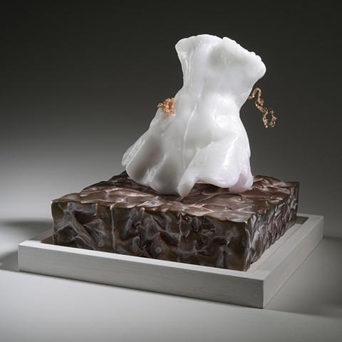 EvocativeFigurelessGarment by LindaMaeTratechaud, Sculpture, Cast Glass, Bronze, Woven Wire