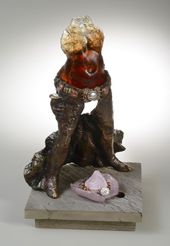 EvocativeFigurelessGarment by LindaMaeTratechaud, Sculpture, Bronze, Glass, Condom, Birth Control, Feminist Warrior