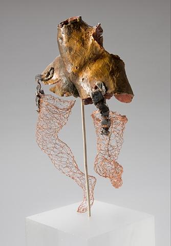 EvocativeFigurelessGarment by LindaMaeTratechaud, Bronze Sculpture, Woven Wire, Girdle, Trucker's Mudd Flaps
