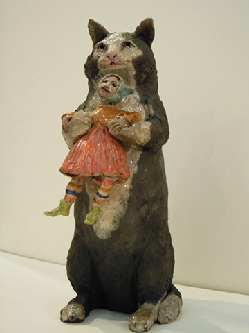 cat with his girl ceramic