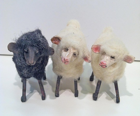 ceramic and needle felted wooly sheep:lisa schumaier