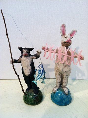 fishing cat crafting rabbit