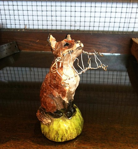 no fox fencing ceramic sculpture by lisa schumaier