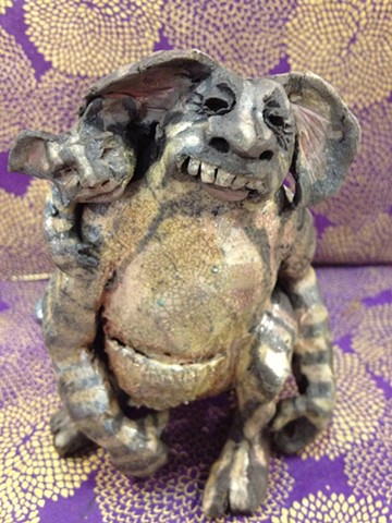 raku monster mother and child sculpture - lisa schumaier