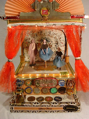 animated theater made of found objects old photos and bits and pieces by lisa schumaier