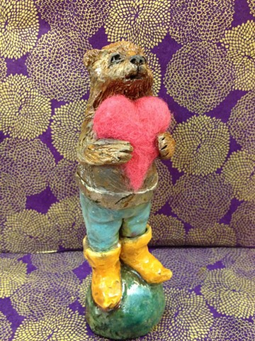 raku bear with a warm needle felted heart - lisa schumaier