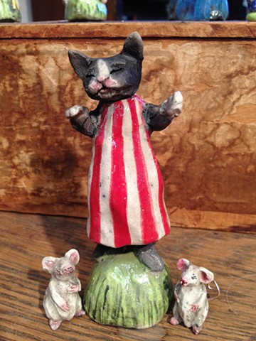 Raku cat and mice lisa schumaier