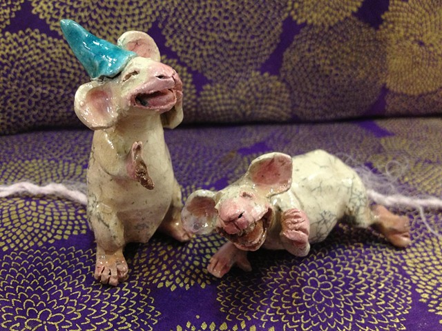 laughing raku mice - lisa schumaier
