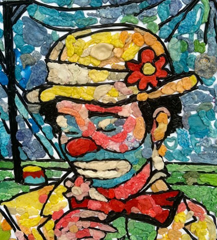 sad clown in gum and licorice by lisa schumaier