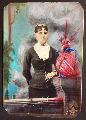 acrylic painting on 19th century cabinet card photograph