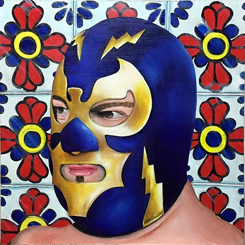 acrylic painting on wood of a mexican wrestler enmascarado