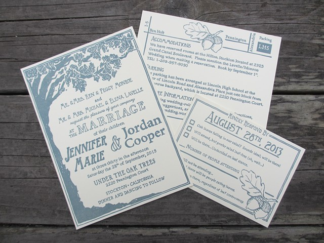 Letterpress Wedding Invitations - Oak Tree