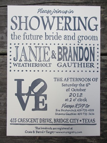 Letterpress Wedding Invitations - LOVE