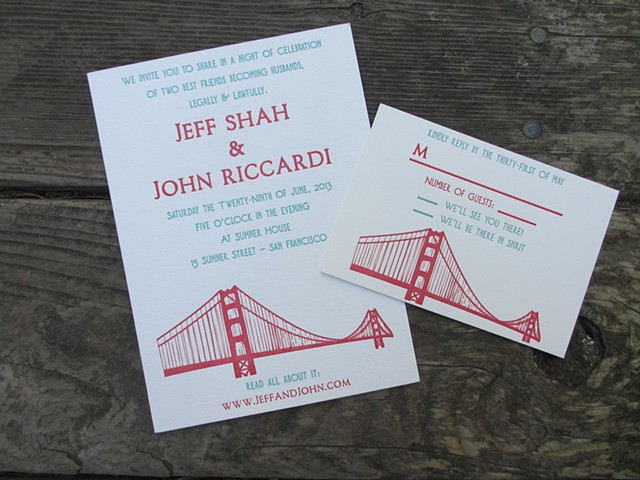 Letterpress Wedding Invitations - Golden Gate Bridge