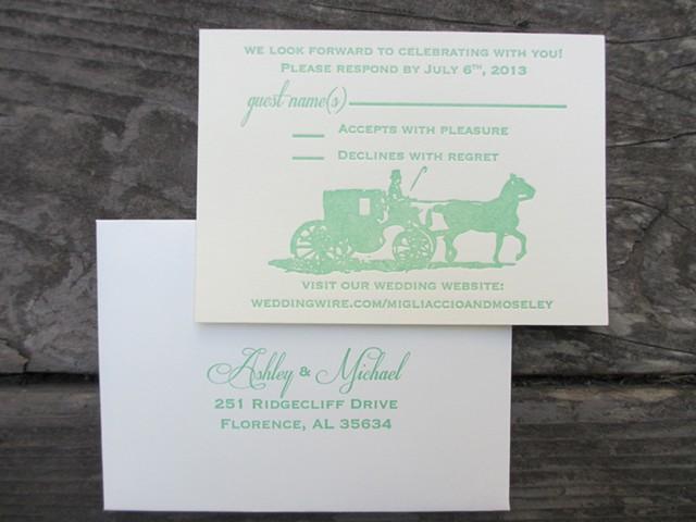 Letterpress Wedding RSVP - Horse & Carriage