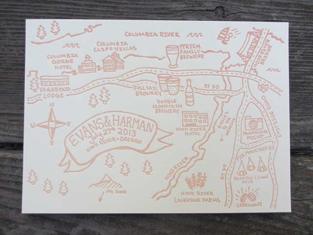 Letterpress Wedding Map - Oregon