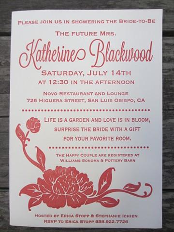 Letterpress Wedding Shower Invitations - Floral
