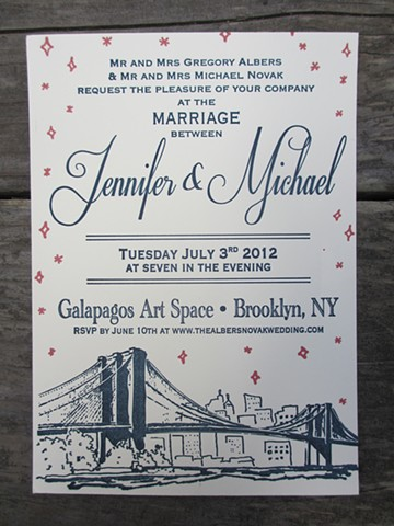 Letterpress Wedding Invitations - Brooklyn Twilight