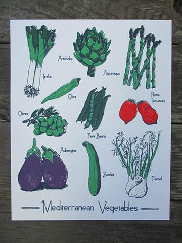 Silkscreen Print - Mediterranean Vegetables