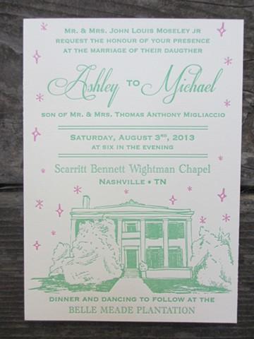 Letterpress Wedding Invitations - Nashville