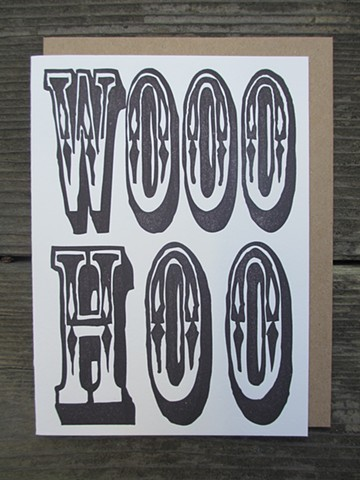 Letterpress Card - WOOOHOO (Black)