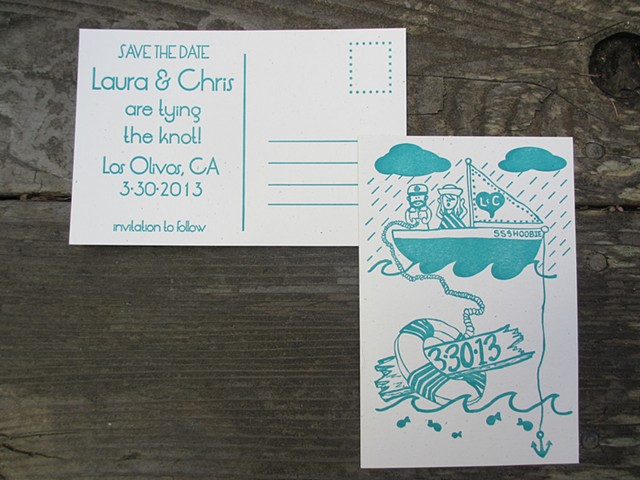 Letterpress Wedding Save The Date Postcards - Lifesaver