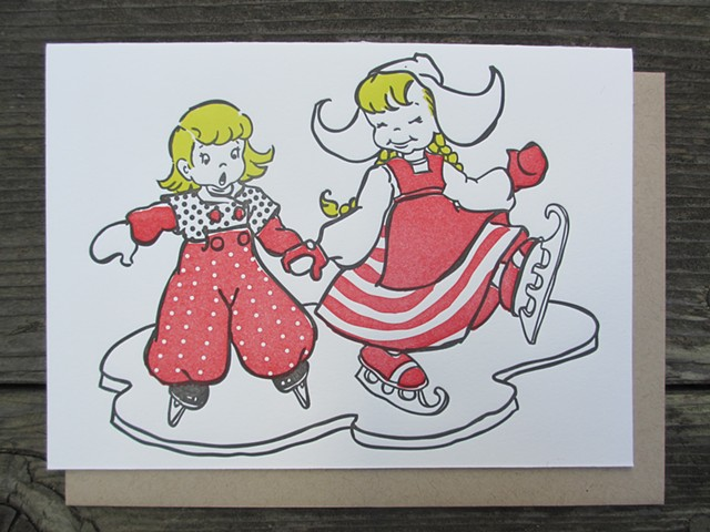 Letterpress Card - Dutch Ice Skaters (Red)