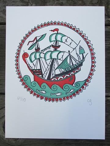 Letterpress Print - Iznik Ship