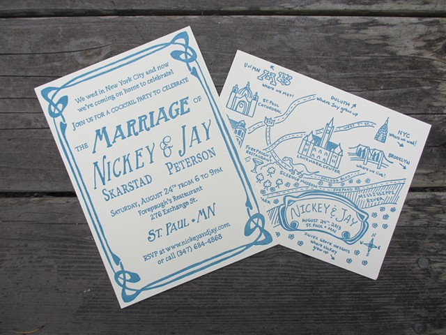Letterpress Wedding Invitations - Art Deco