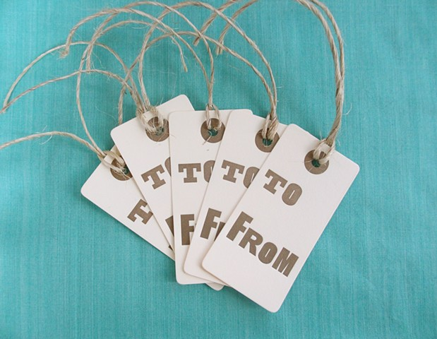 Letterpress Gift Tags - To/From, Set of 5