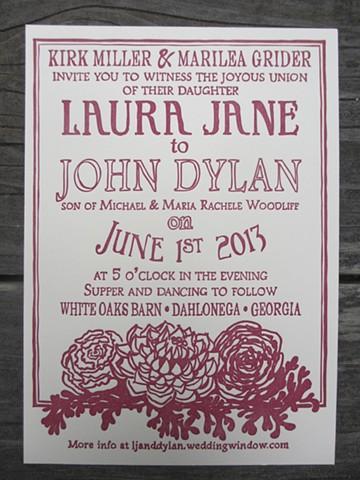 Letterpress Wedding Invitation - Peonies