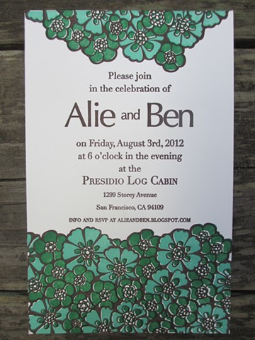 Letterpress Wedding Invitations - Park Wedding