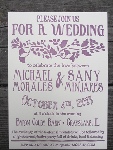 Letterpress Wedding Invitations - Folk Art Floral