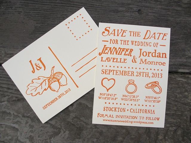 Letterpress Wedding Save The Date Postcards - Coordinates