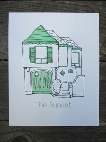 Letterpress Print - San Francisco Sunset House