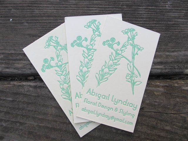 Letterpress Business Cards - Floral